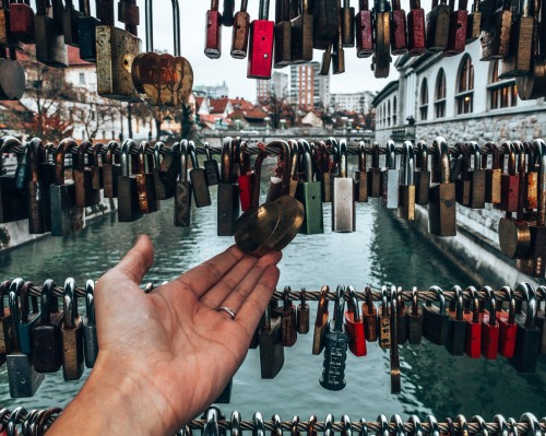 Locks on the bridge of love in Ljubljana, Slovenia