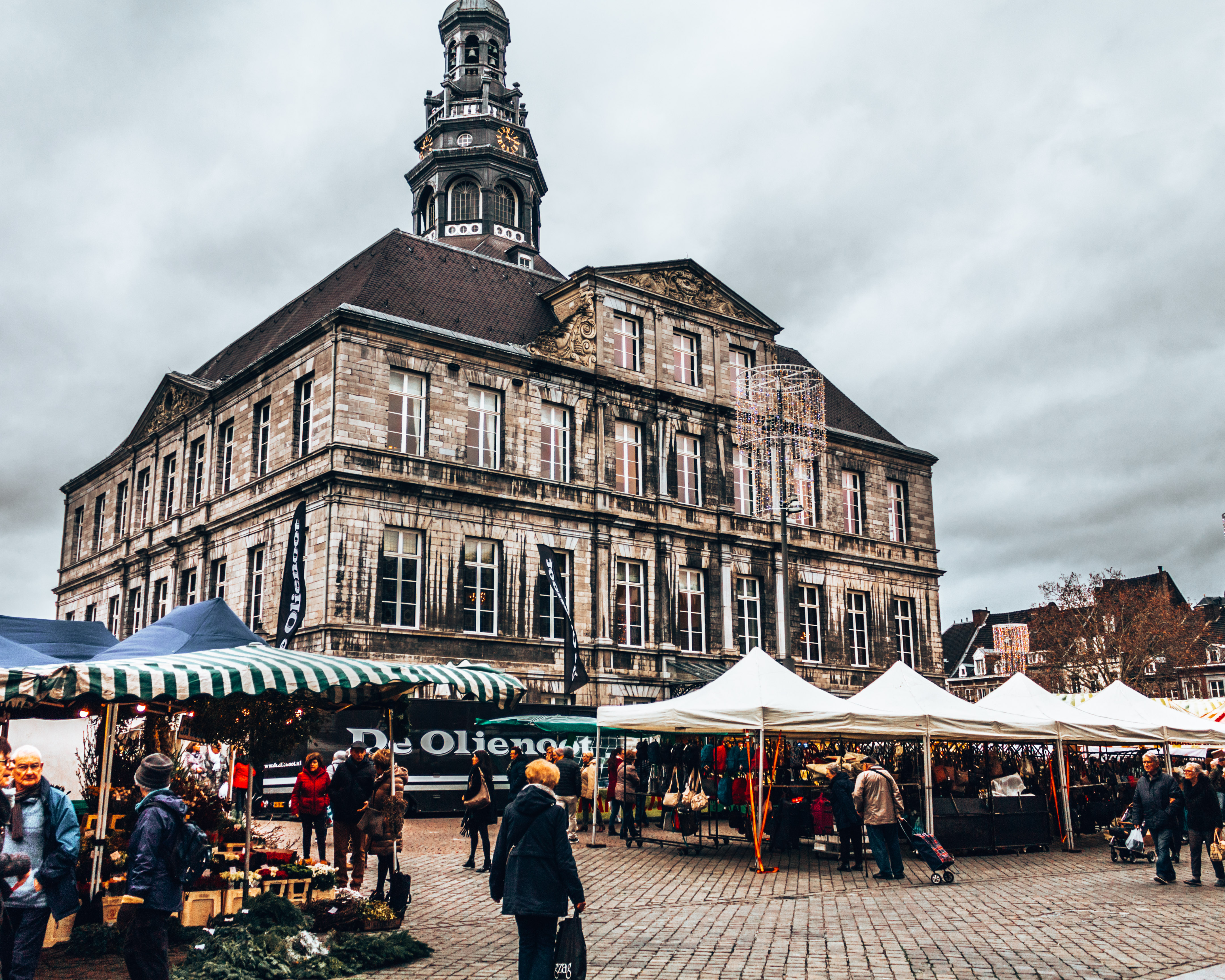 The market outside Maastricht city hall in Maastricht, Netherlands