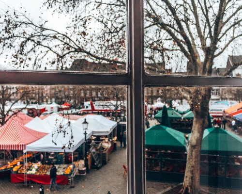 The market outside of Hotel de la Bourse in Maastricht, Netherlands