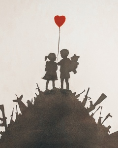 Kids on Guns by Banksy at the Moco Museum in Amsterdam, Netherlands