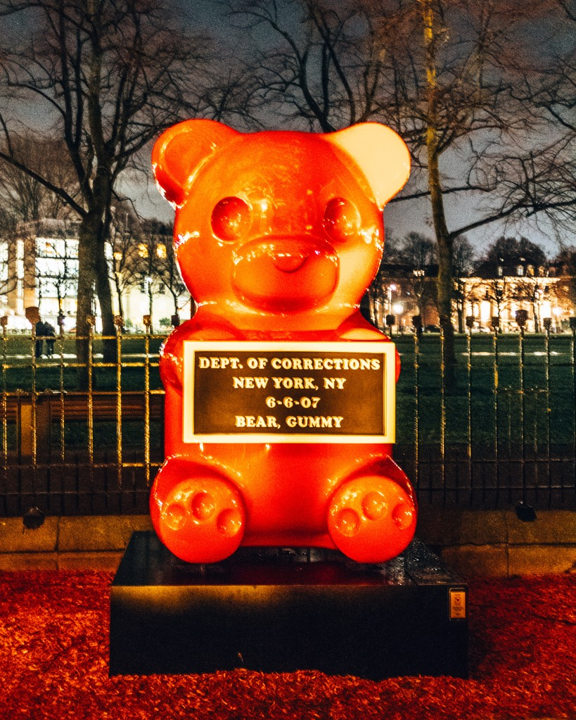 A very bad gummybear outside the Moco museum in Amsterdam, Netherlands