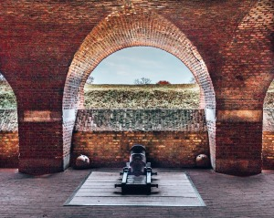 A mortar inside Fort St Pieter in Maastricht, Netherlands