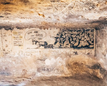 Cave paintings in the North caves of Maastricht, Netherlands