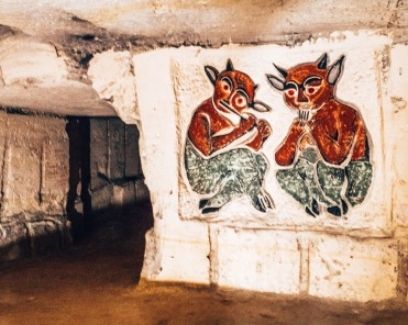 Cave paintings of fiddlers in the North caves of Maastricht, Netherlands