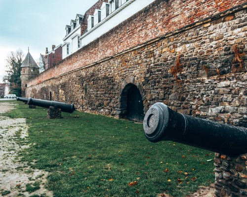 A section of the old walls guarded by cannons in Maastricht, Netherlands