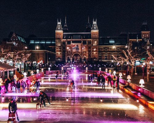 Go for a skate outside the Rijksmuseum in Amsterdam, Netherlands