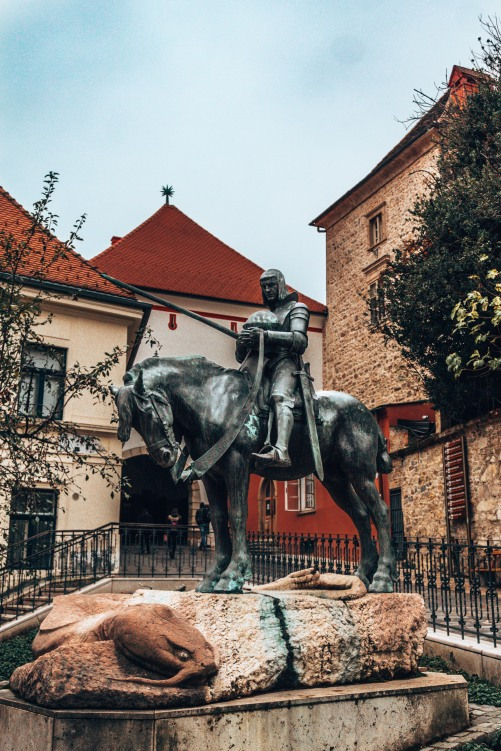 The statue of St George and the dragon in Zagreb, Croatia