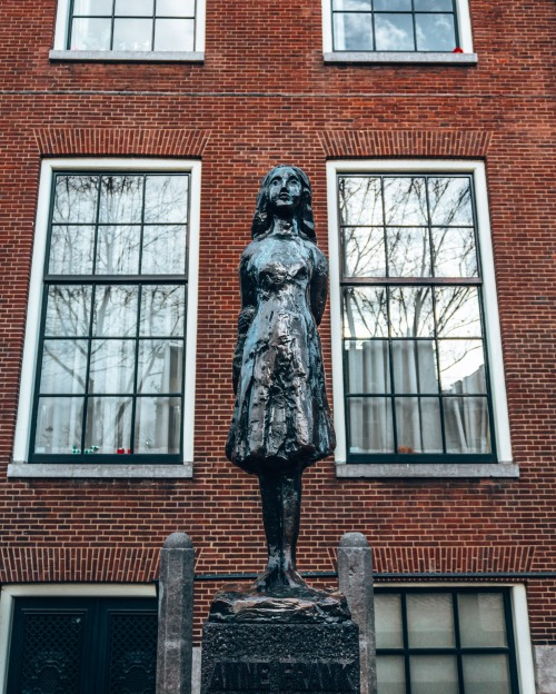 The Statue of Anne Frank in Amsterdam, Netherlands