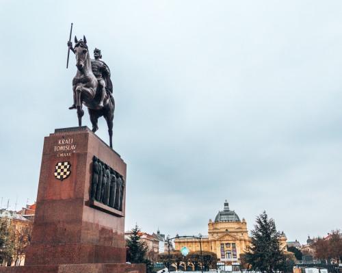 The statue of King Tomislav in Zagreb, Croatia