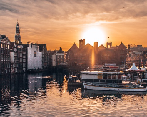 A great sunset over the canals of Amsterdam, Netherlands