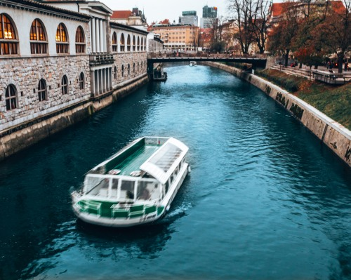 The Ljubljanica river in Ljubljana, Slovenia