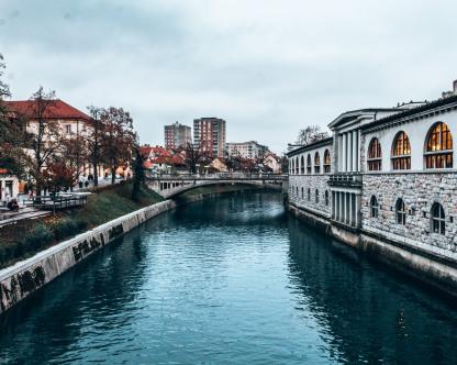 The Ljubljanica river and Dragon Bridge in Ljubljana, Slovenia