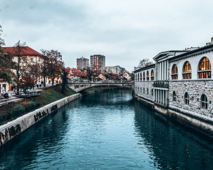 The Ljubljanica river and Dragon Bridge in Ljubljana, Slovenia