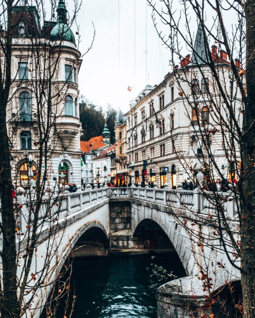 Tromostovje bridge in Ljubljana, Slovenia