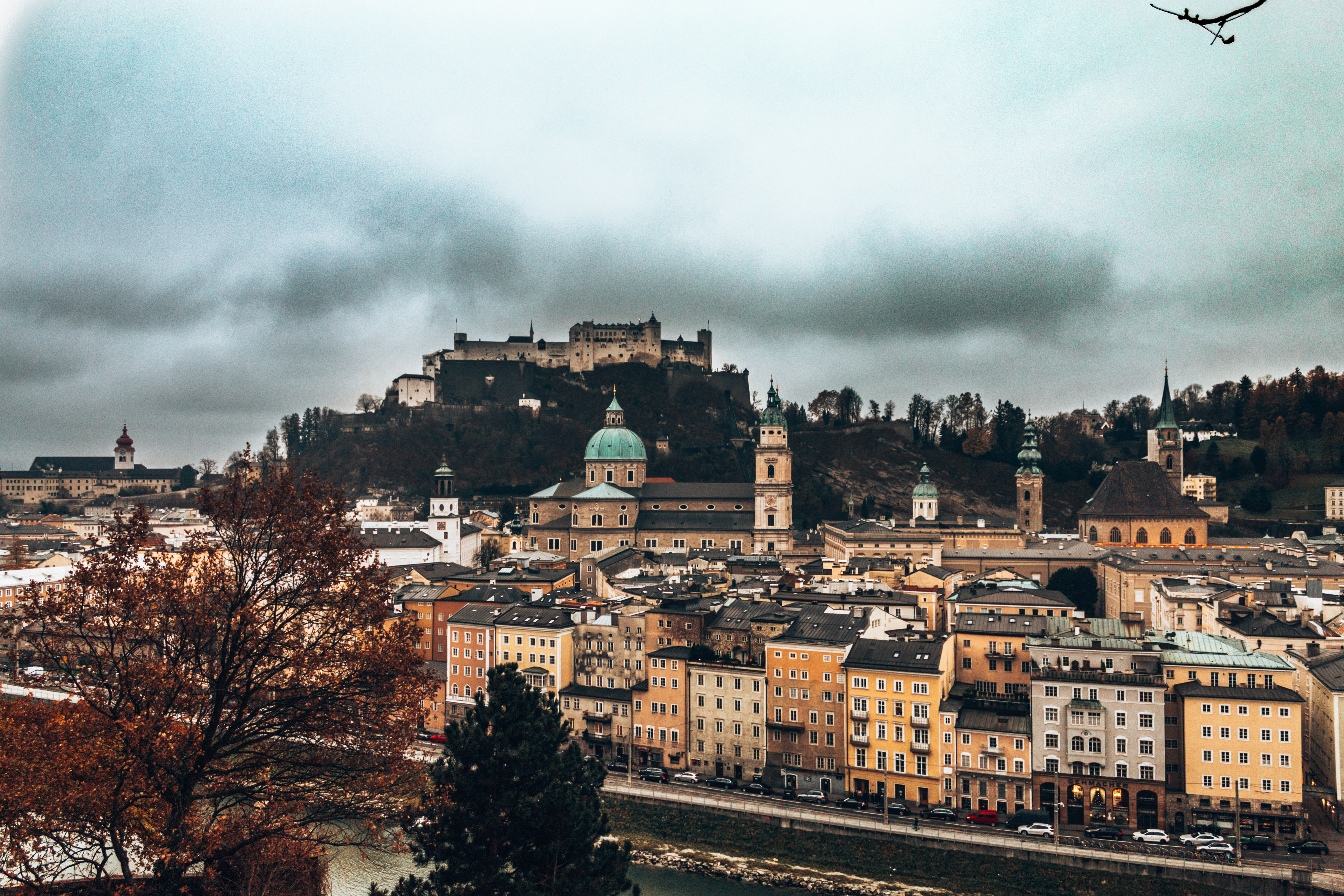 A view of the Hohensalzburg Fortress from the Kapuzinerg hill in Salzburg, Austria