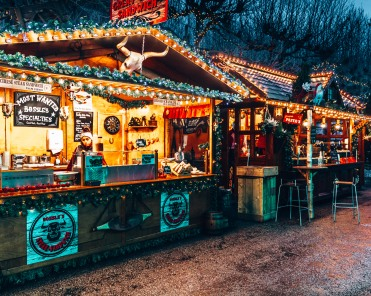 Food stalls in the Vrijthof Square Christmas in Maastricht, Netherlands