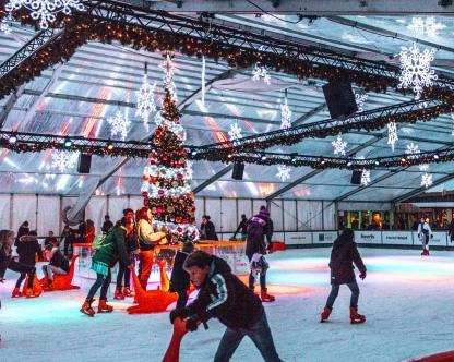 The Vrijthof Square skating rink in Maastricht, Netherlands
