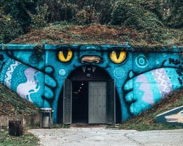 Cat mural tunnel in the Art Park in Zagreb, Croatia