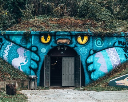 Cat mural tunnel in the Art Park in Zagreb, Croatia
