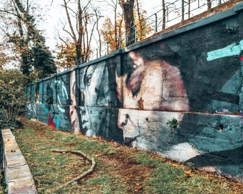 Murals in the Art Park in Zagreb, Croatia