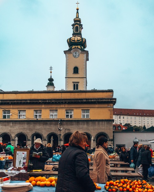 A view of St Mary's Church from the Dolac market in Zagreb, Croatia