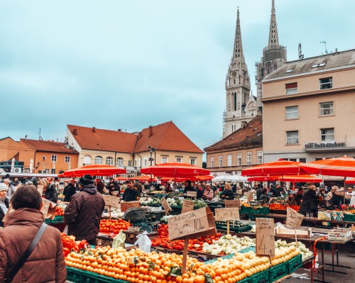 The local Dolac market in Zagreb, Croatia