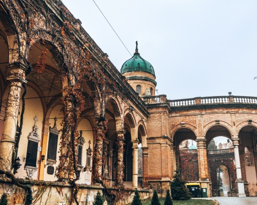 The entrance to the Mirogoj cemetery in Zagreb, Croatia