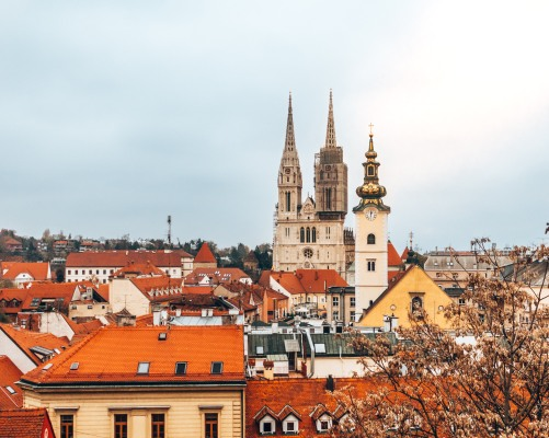 A view of Zagreb from the Strossmayer Promenade in Zagreb, Croatia