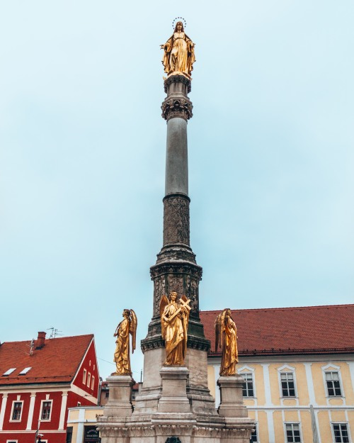 The Virgin Mary monument in Zagreb, Croatia