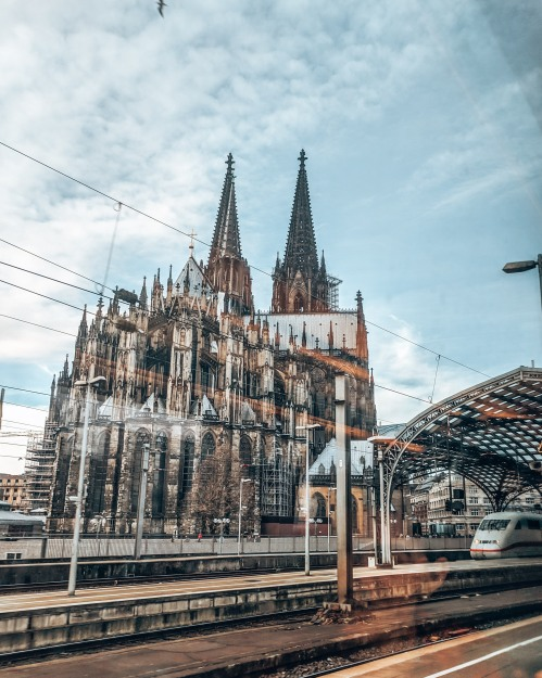 Passing by The Cologne cathedral in Germany by train