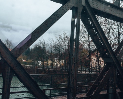 Crossing the river by train on our way to Salzburg
