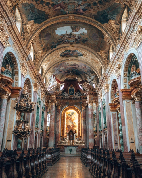 The opulent Dominikaner Kirche in Vienna, Austria
