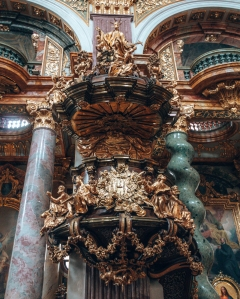 Ornate gilding in the Dominikaner Kirche in Vienna, Austria