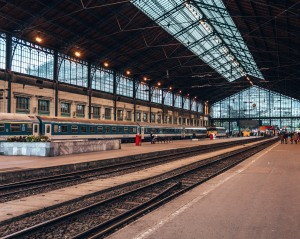 Inside the Budapest train station
