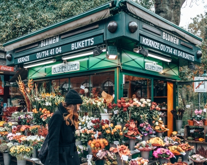 A typical flower shop in Vienna, Austria
