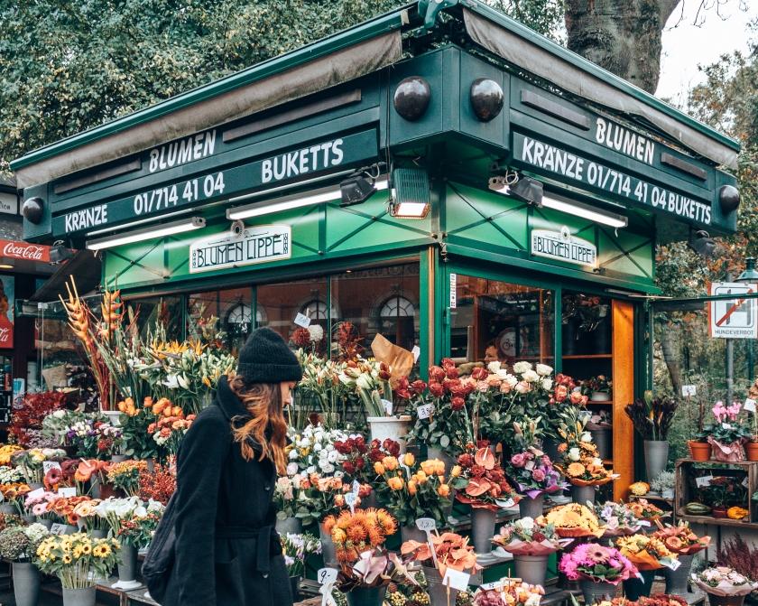 A typical flower shop in Vienna, Austria