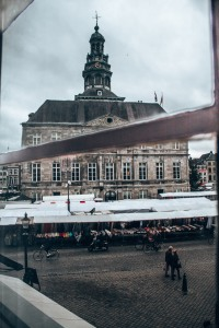 The view out of our room at Hotel de la Bourse in Maastricht, Netherlands