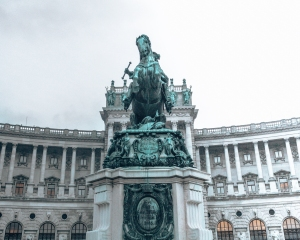 The beautiful monument in front of the National library in Vienna, Austria