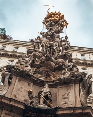 The Pestsaule statue in Graben square in Vienna, Austria
