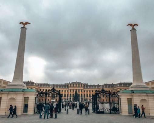 The entrance to the Schönbrunn Palace in Vienna, Austria
