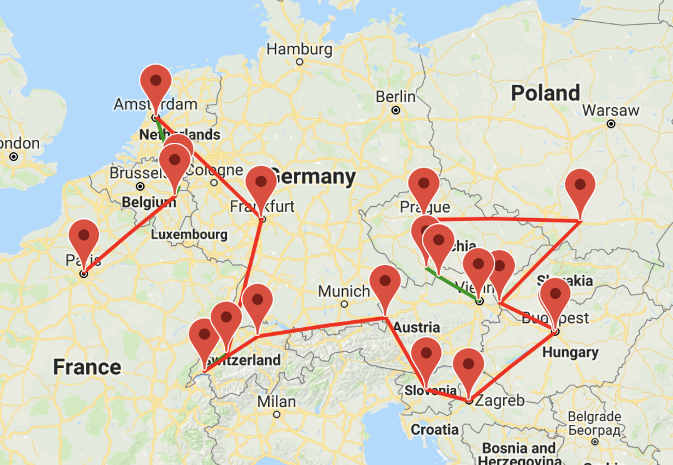 Our one month itinerary through Europe