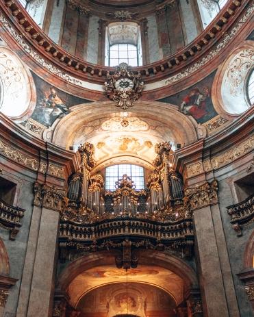 The organ inside St-Peters church in Vienna, Austria