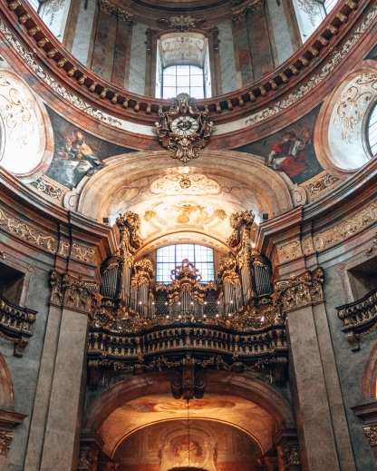 The organ inside St-Peters church in Vienna, Austria