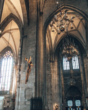 The hanging crucifix inside St-Stephen's Cathedra in Vienna, Austria