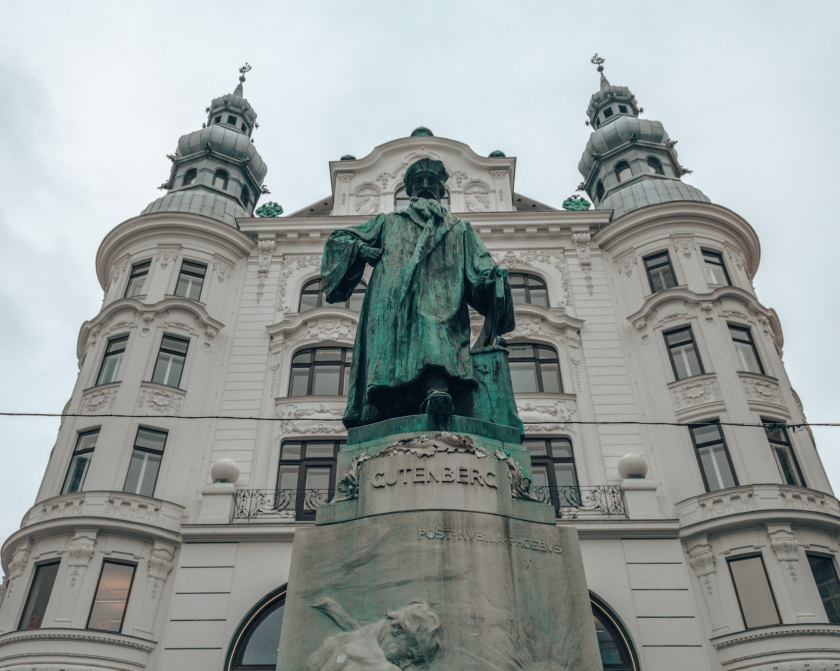 A statue of Johannes Gutenberg in Vienna, Austria