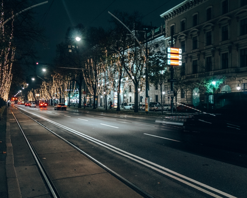 The streets at night in Vienna, Austria