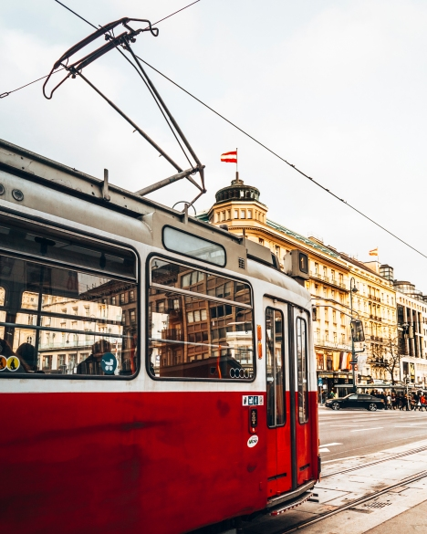 Catch a tram in Vienna, Austria