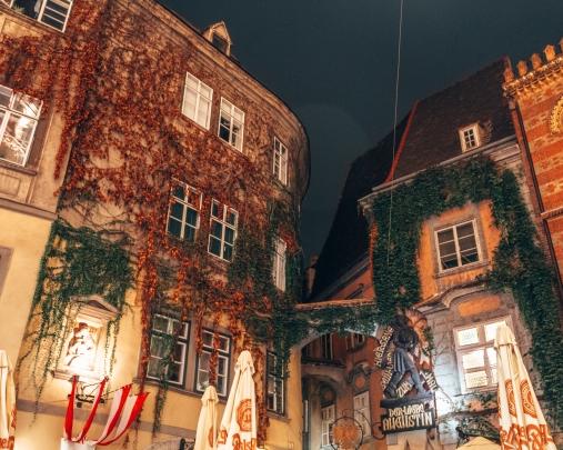 Cute buildings at night in Vienna, Austria