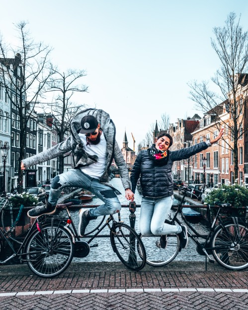 Jumping for joy in Amsterdam