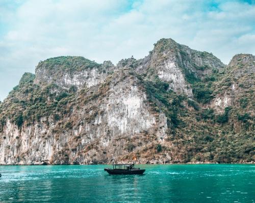 A long boat in Halong Bay Vietnam